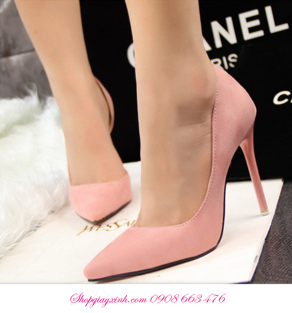 Giày cao gót da lộn Hàn Quốc