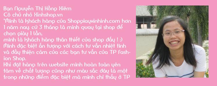 Cảm nhận của khách hàng Nguyễn Thị Hồng Xiêm về shop giày xinh